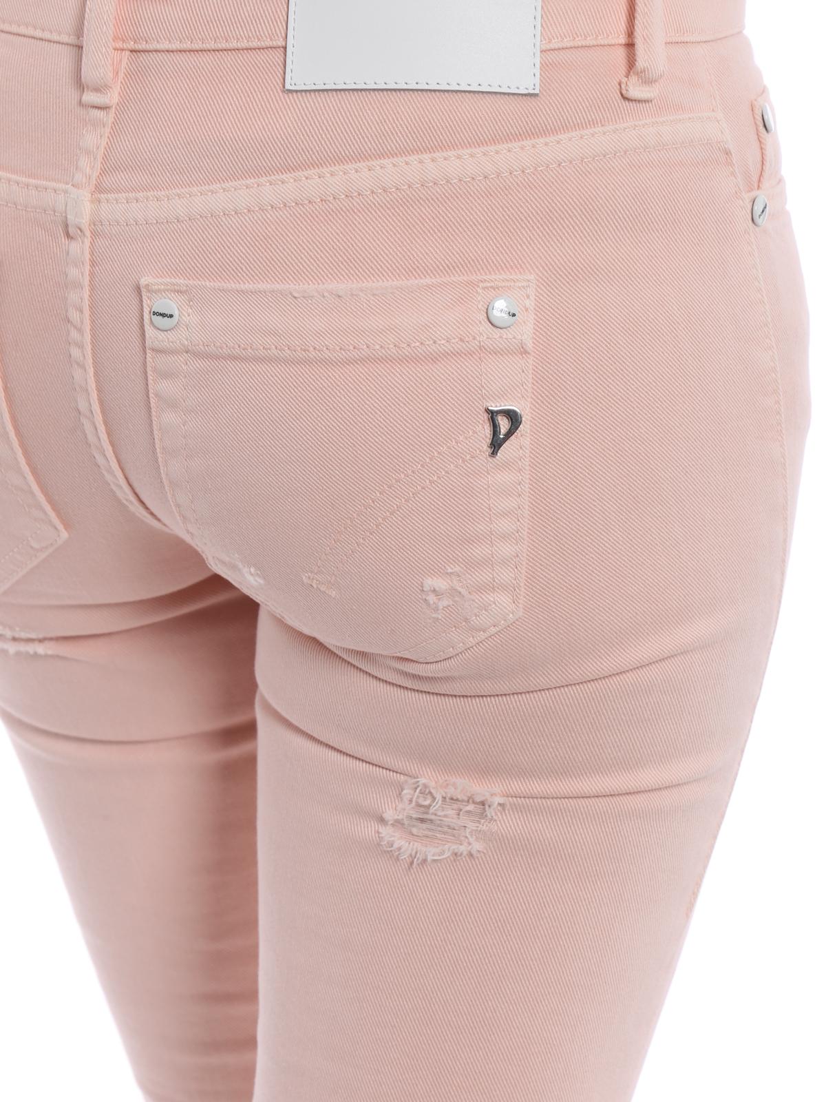 0554567404 Dondup - Jeans crop Monroe in denim rosa - jeans skinny ...