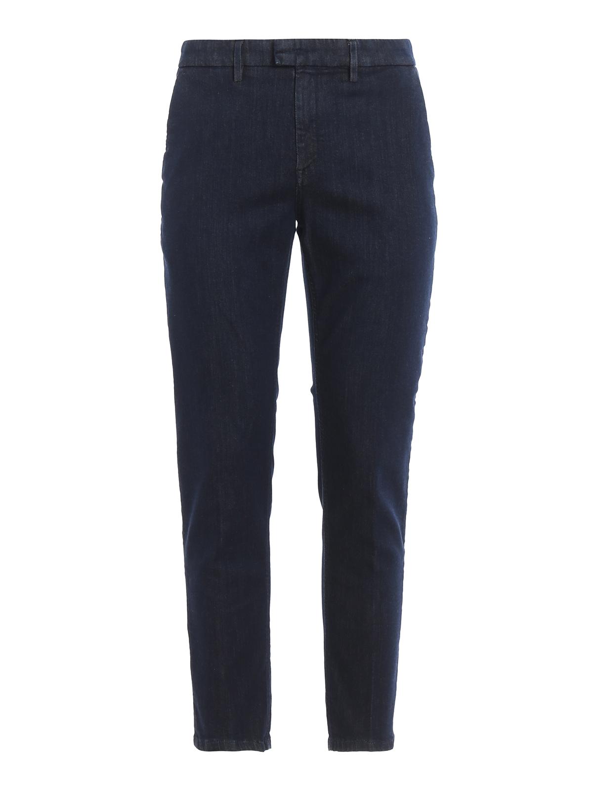 Dondup Pablo Soft Cotton Trousers In Dark Wash