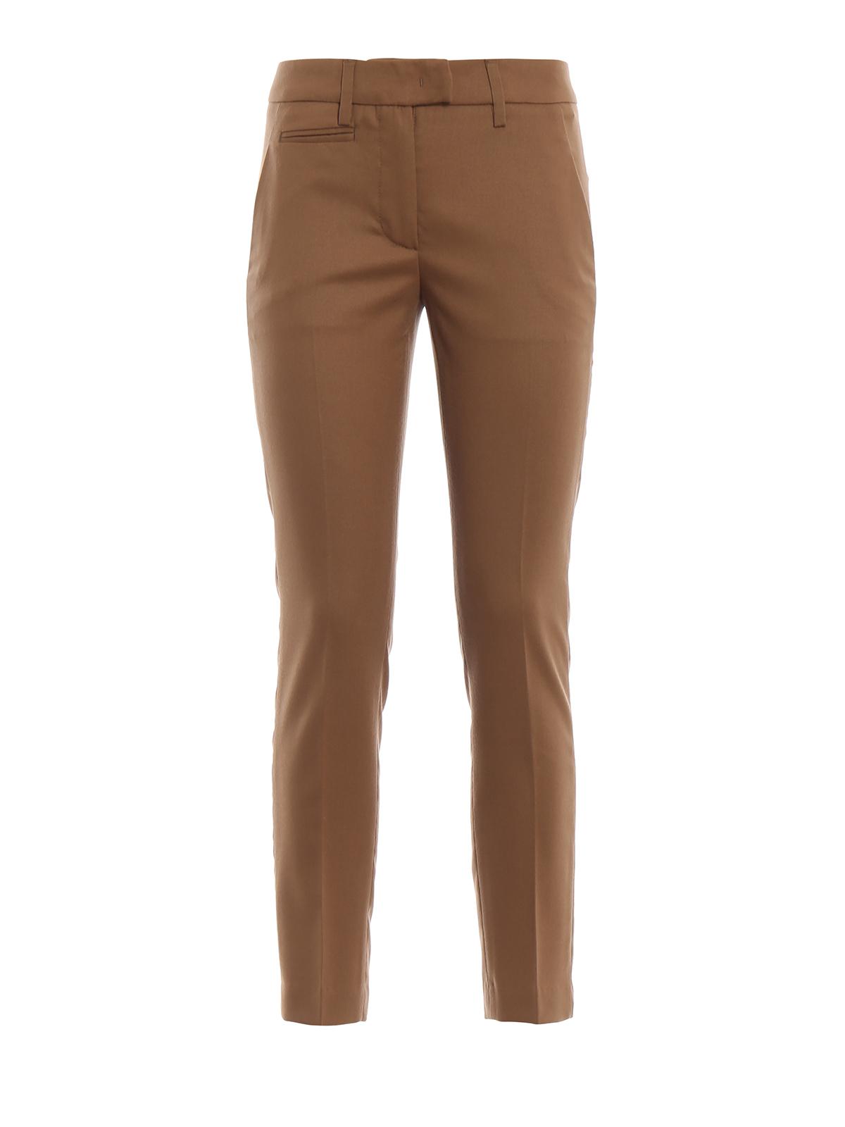 Dondup Crop Color Casual Cammello Perfect Pantaloni qT7Hgwrq