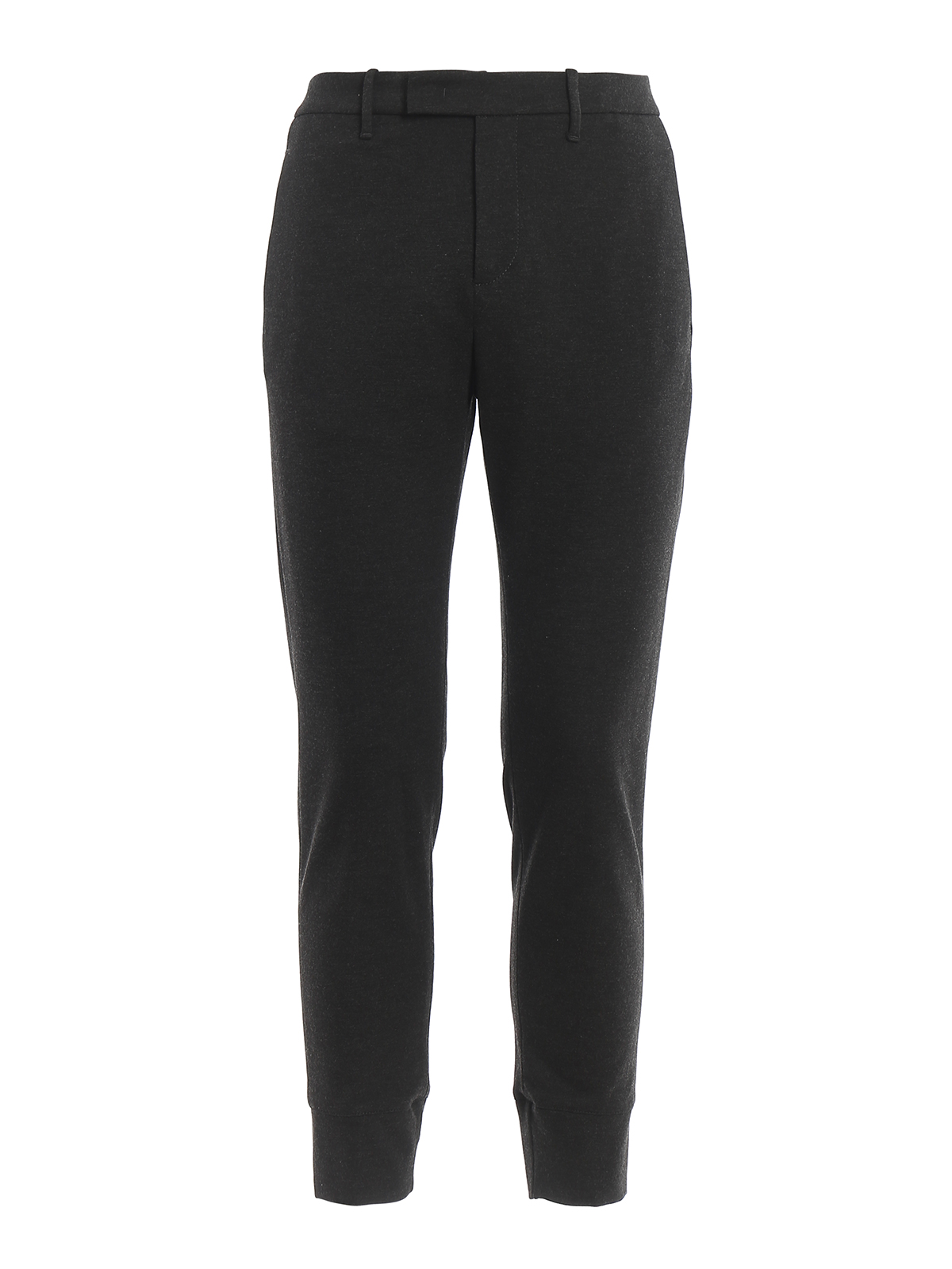 Dondup Robby Viscose Trousers In Dark Grey