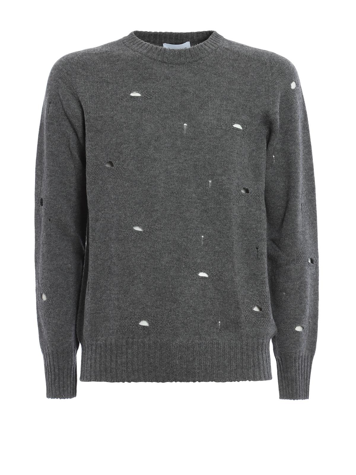 8b7954b27f Dondup - Maglione in lana con strappi - maglia collo rotondo - UM834 ...