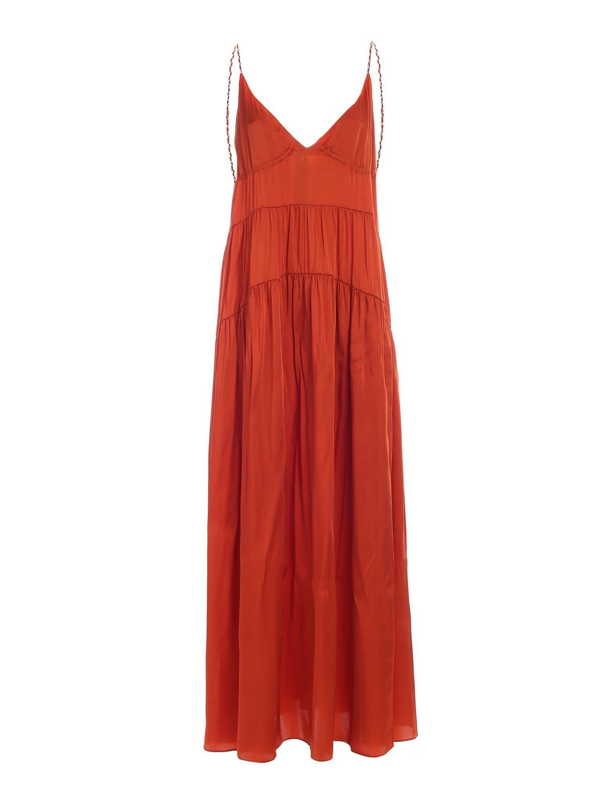 Dondup Silks JEWELED STRAPS DRESS IN RUST COLOR