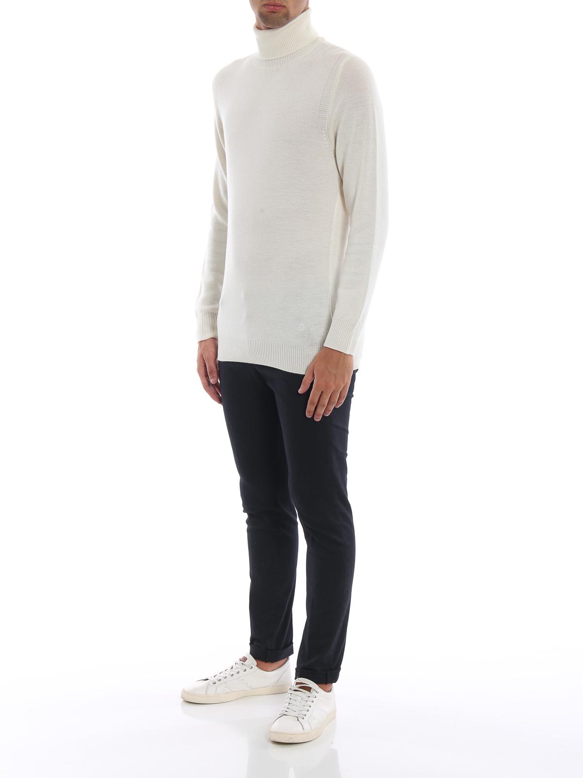 più amato 196e2 0890b Dondup - Dolcevita bianca in morbida lana merino - maglia a ...