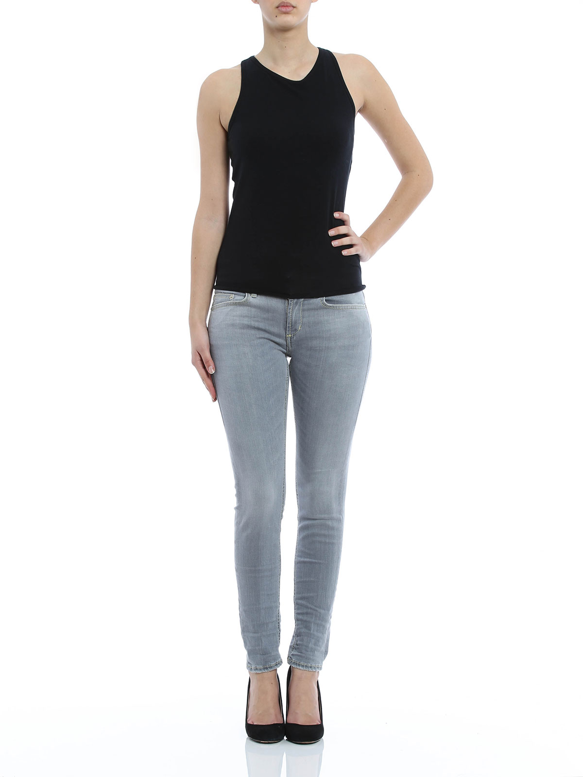 skinny jeans fur damen grau von dondup skinny jeans ikrix. Black Bedroom Furniture Sets. Home Design Ideas