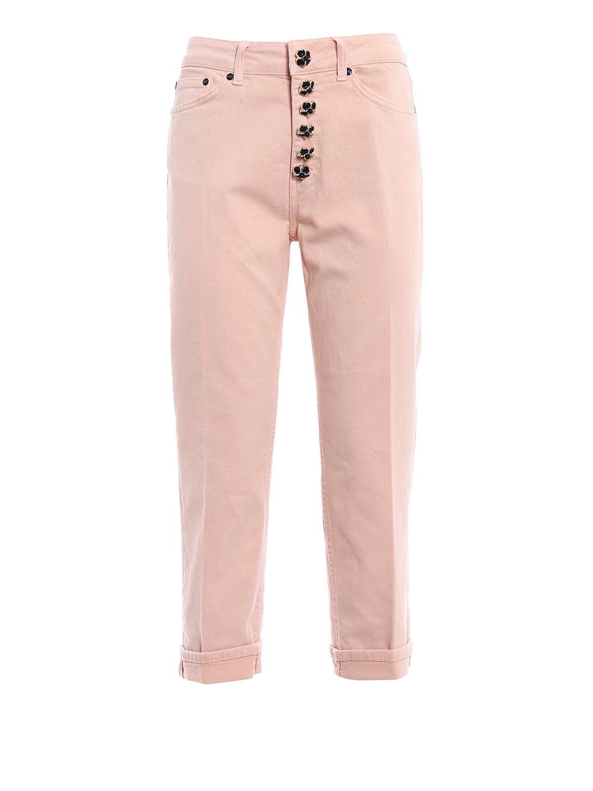 f6786c2904 Dondup - Jeans Koons rosa bottoni gioiello - jeans dritti, a ...