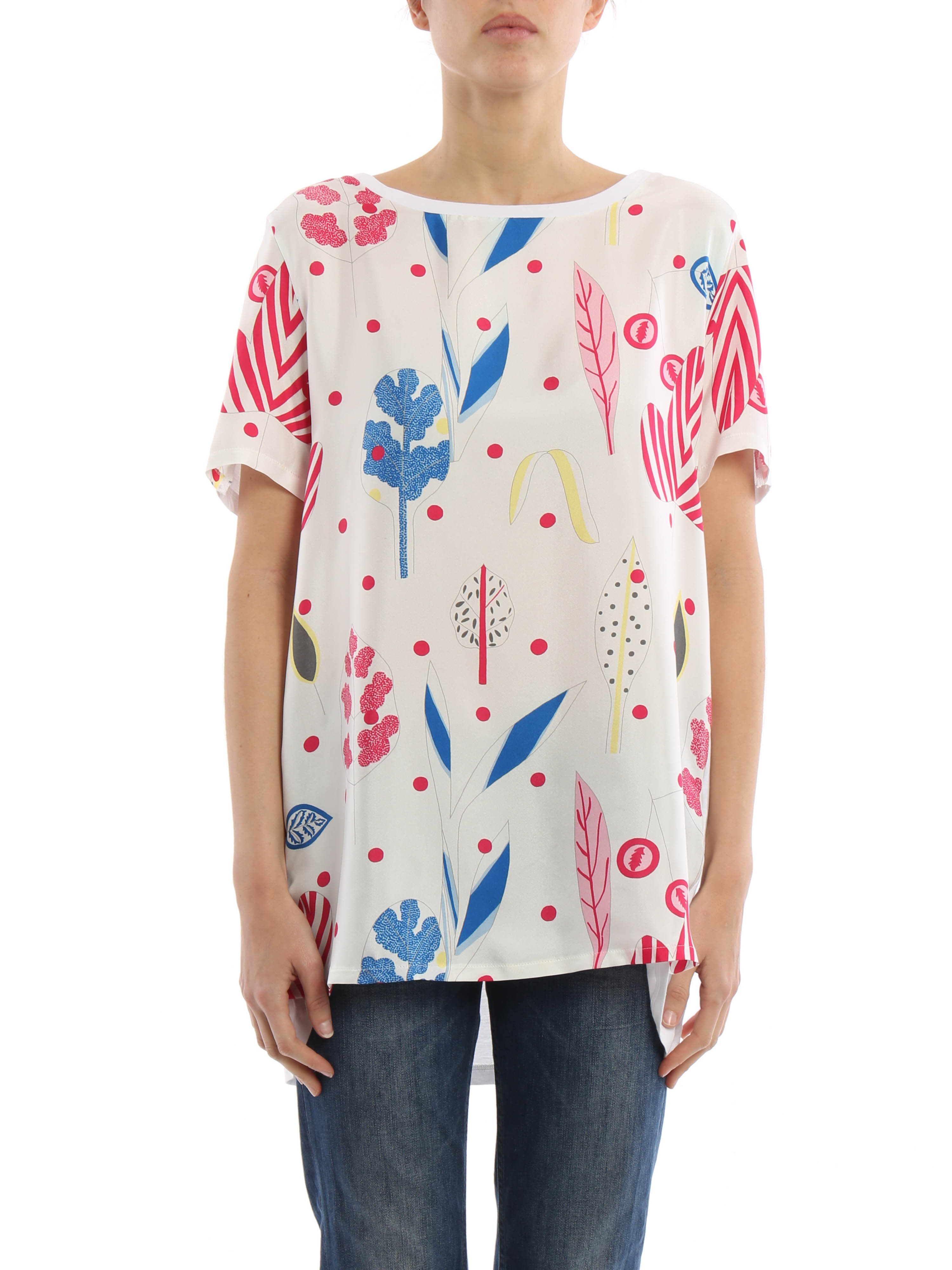 Leaves printed silk cotton t shirt by dondup t shirts for Cotton silk tee shirts