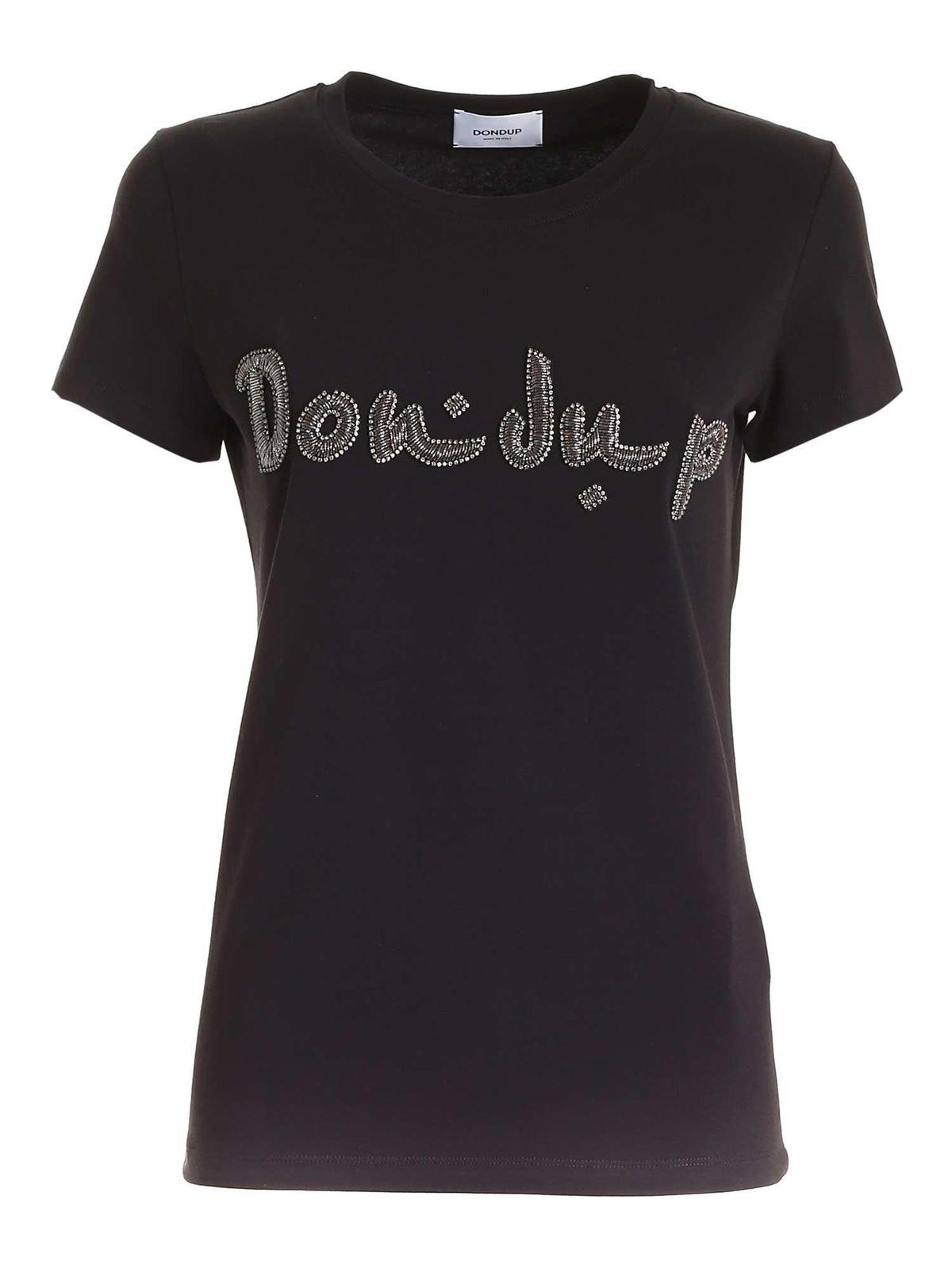 Dondup Cottons RHINESTONE LOGO T-SHIRT IN BLACK