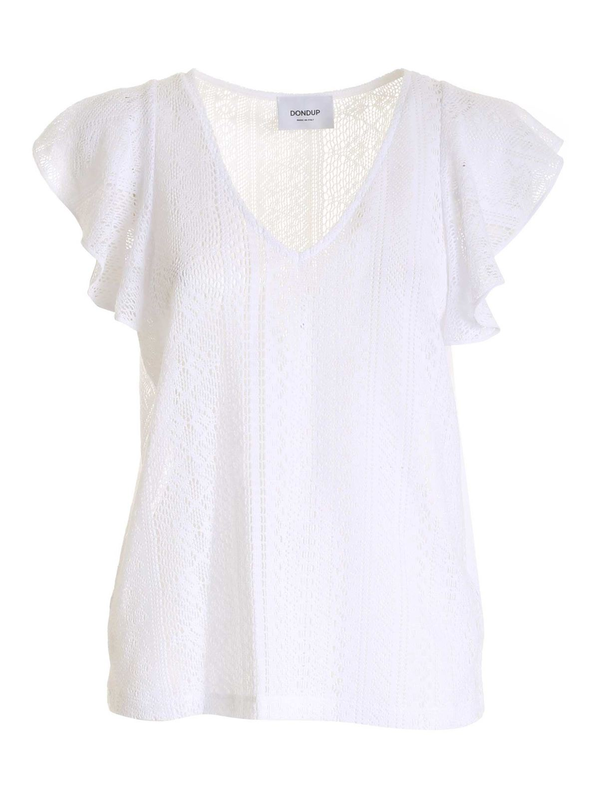 Dondup Cottons V-NECK TOP IN WHITE