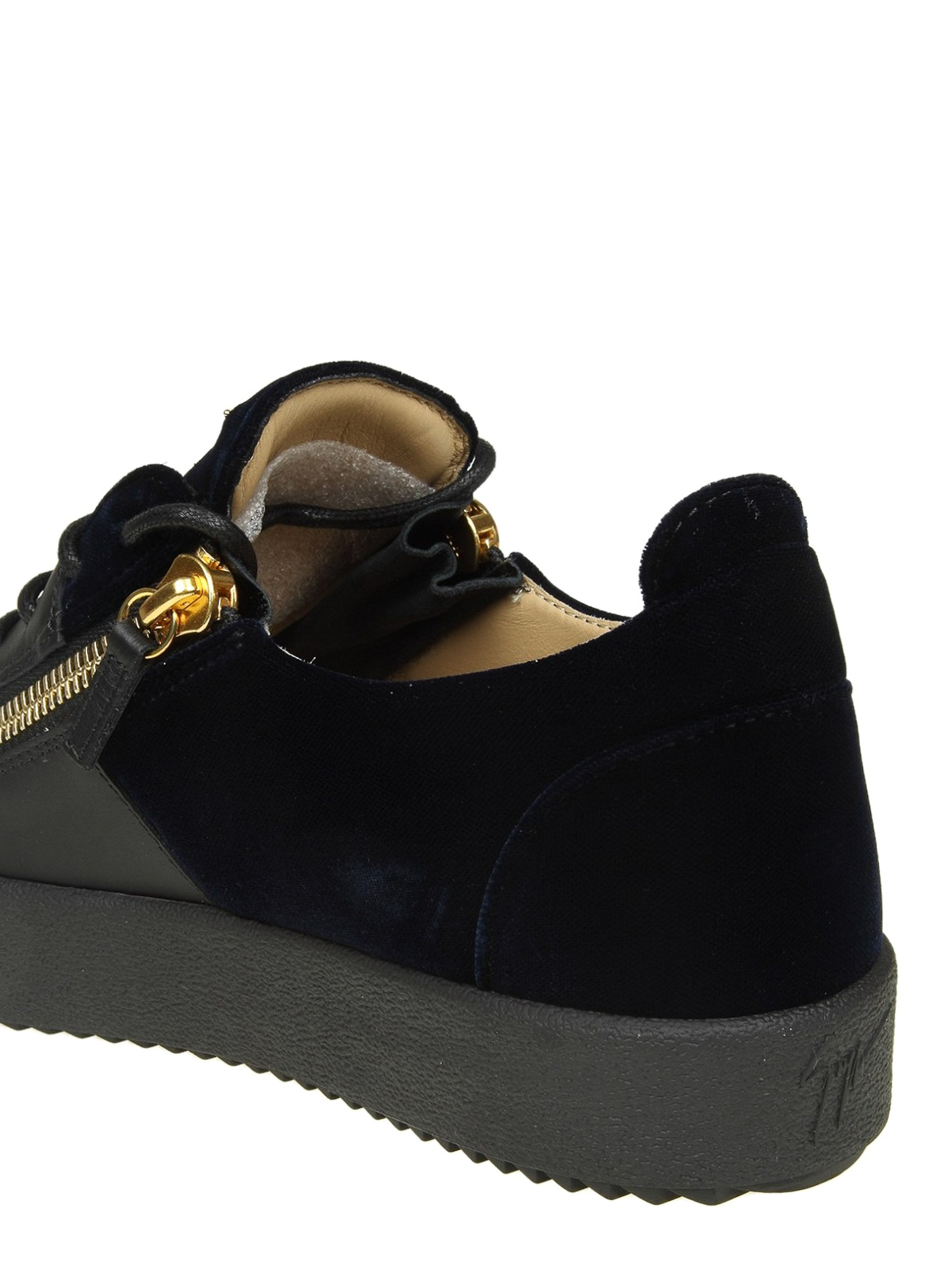 3a84a3f243f82 Double black leather and blue velvet sneakers shop online: GIUSEPPE ZANOTTI