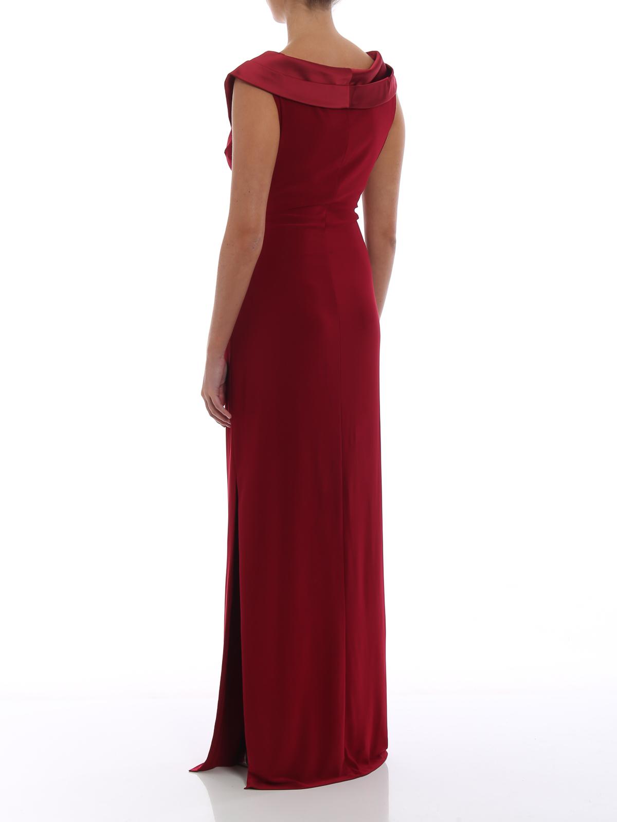 59e0f9429be Ralph Lauren - Draped garnet gown with satin shawl collar - evening ...