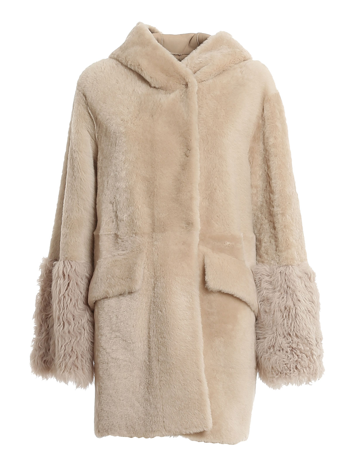 Drome SHEARLING HOODED COAT
