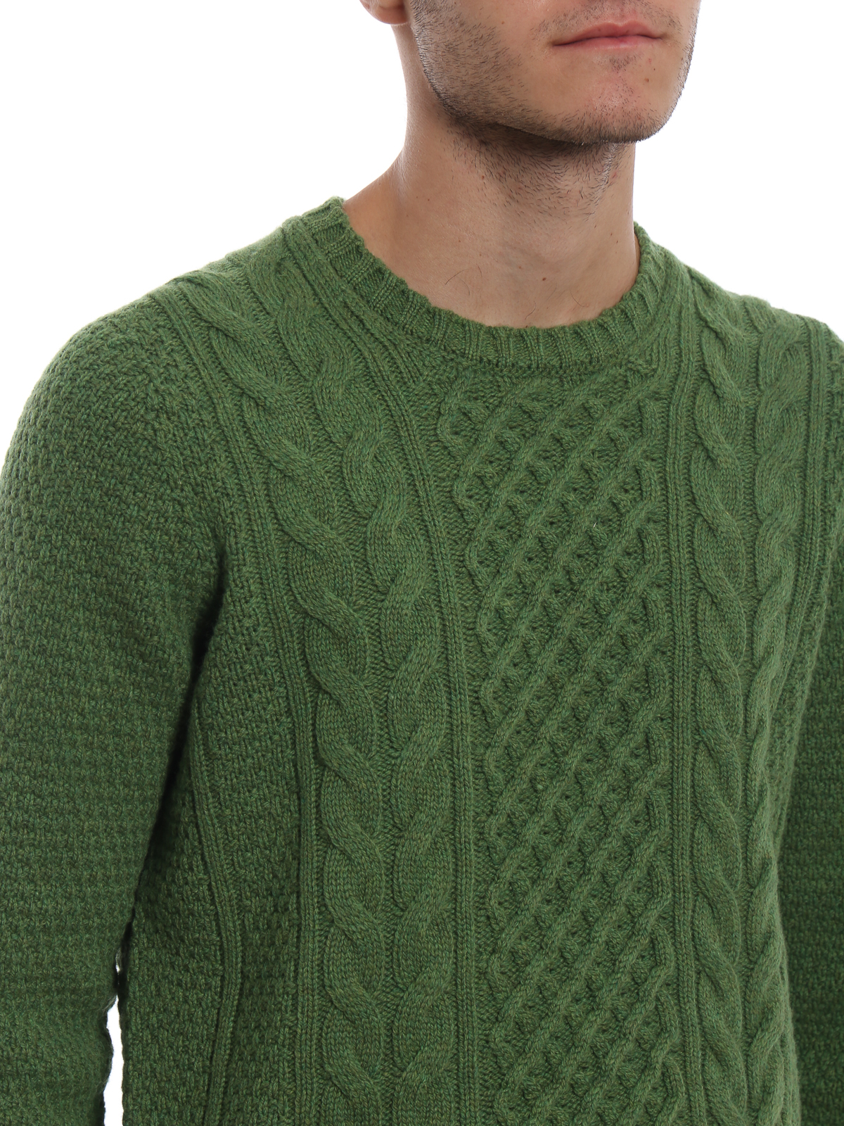 Drumohr Green Cable Knit Wool Sweater Crew Necks D4w123428
