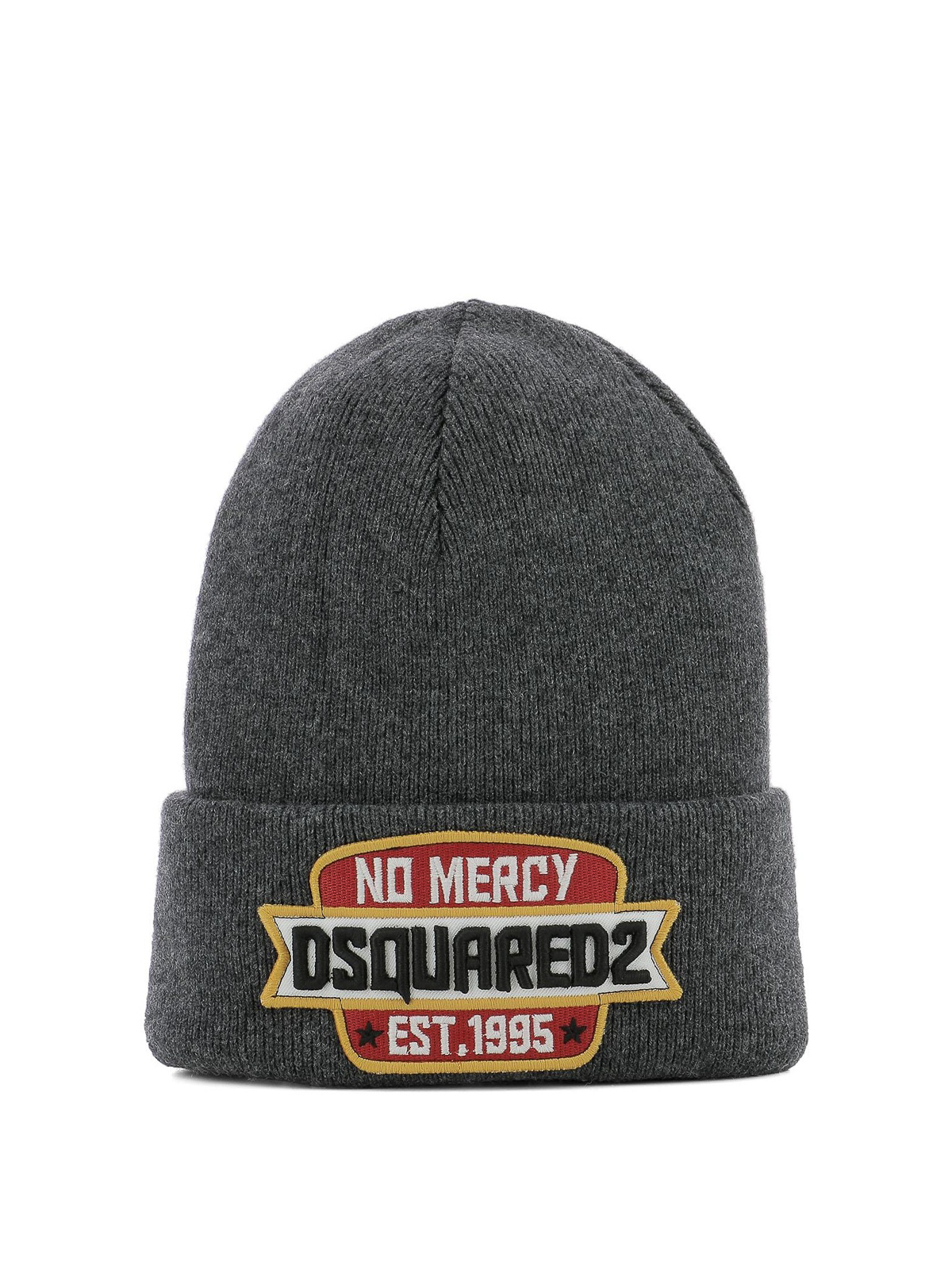 7af85a70225 Dsquared2 - Logo patch grey ribbed wool beanie - beanies ...