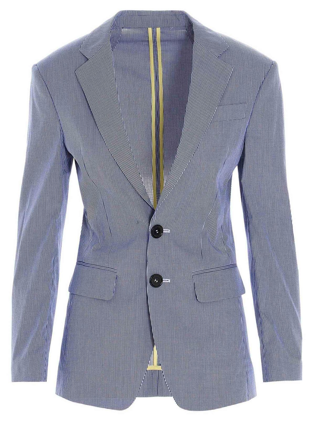 Dsquared2 MICRO CHECKED DEAN OVER BLAZER IN BLUE