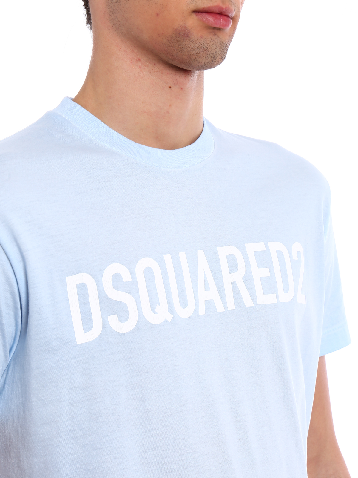 Dsquared2 Cotton Jersey Baby Blue T Shirt T Shirts