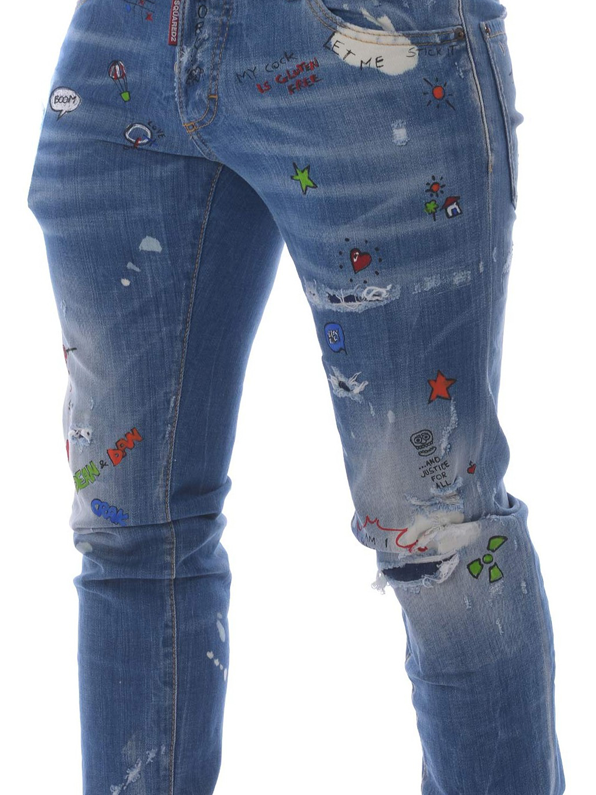 b372cd6e289a72 Dsquared2 - Cotton patterned jeans - straight leg jeans ...