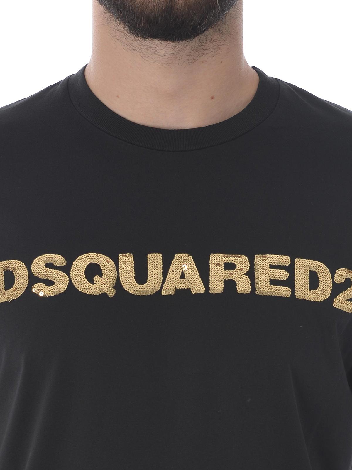 f5c39fa0ff8c Dsquared2 - Gold-tone sequined Dsquared2 logo T-shirt - t-shirts ...