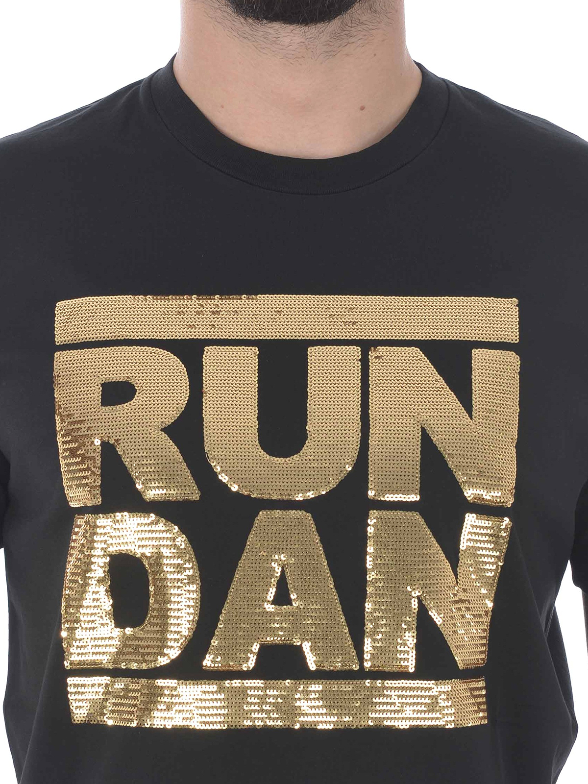 reputable site 65887 93616 Dsquared2 - T-shirt nera con Run Dan in paillettes oro - t ...