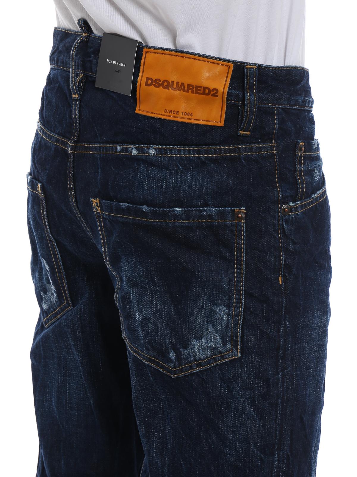 6ea148e94391a9 DSQUARED2 buy online Run Dan dark wash used effect denim jeans. DSQUARED2: straight  leg ...