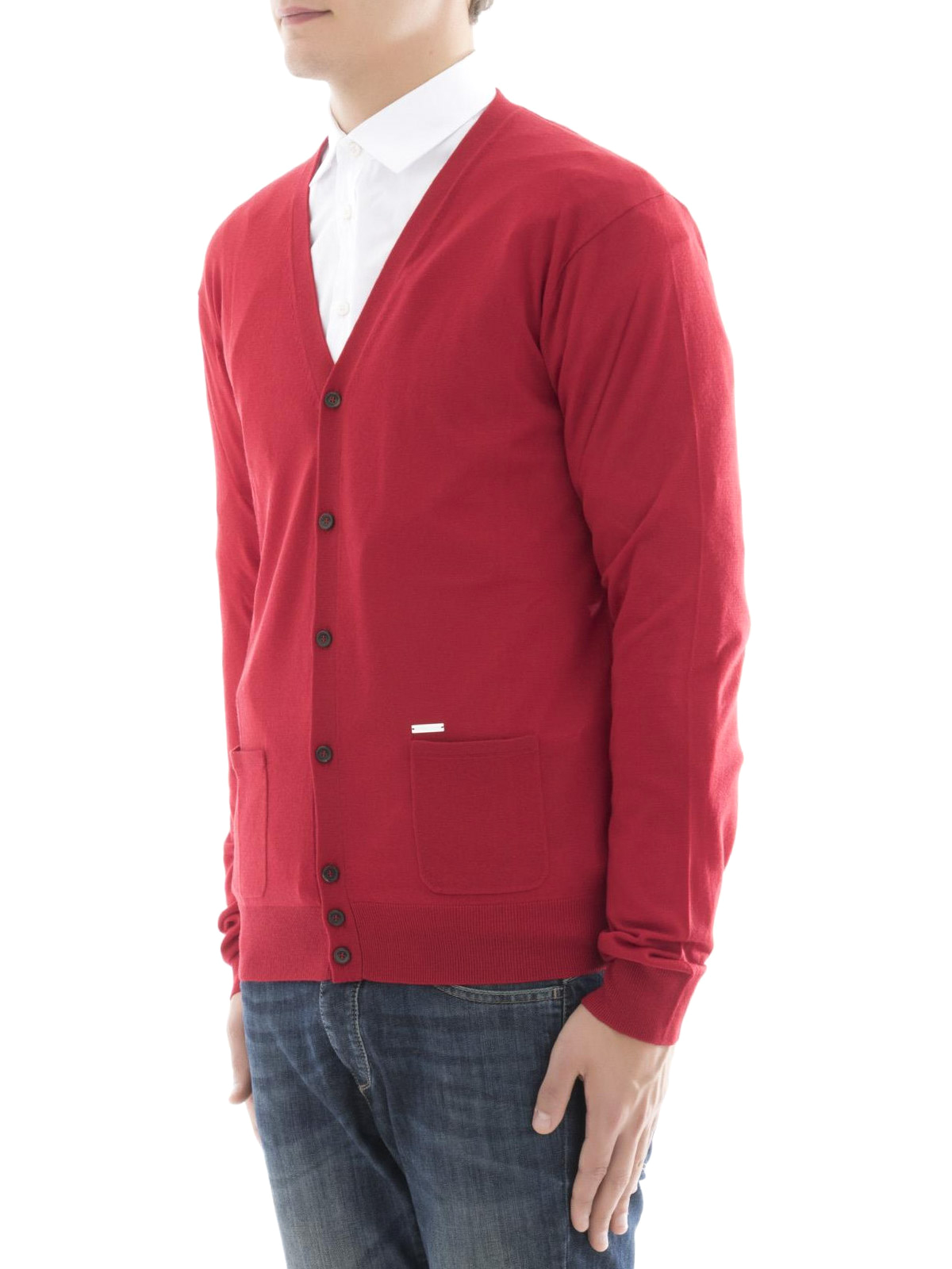 Red wool cardigan by Dsquared2 - cardigans | iKRIX