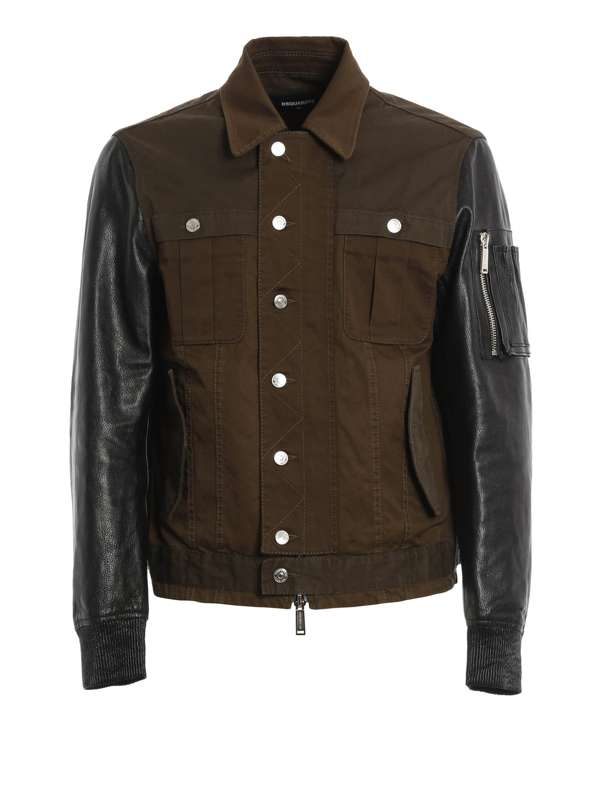 Leather and cotton jacket