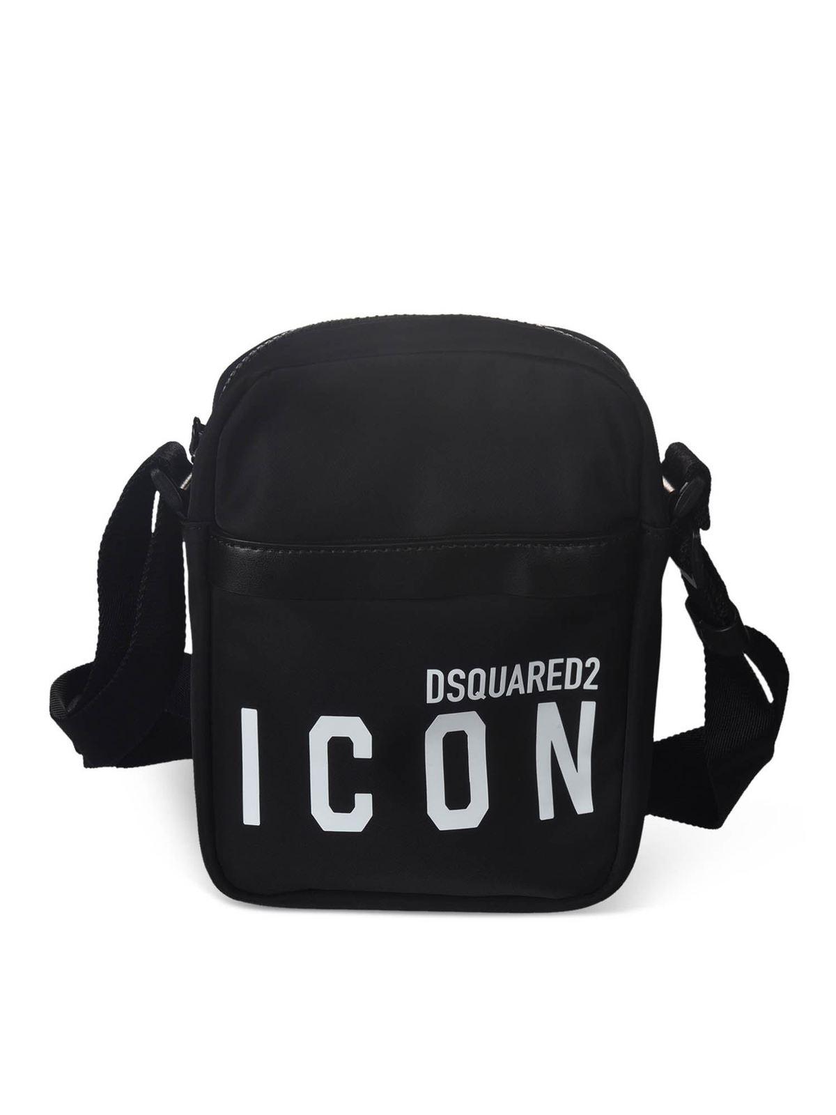 DSQUARED2 LOGO PRINT SHOULDER BAG IN BLACK