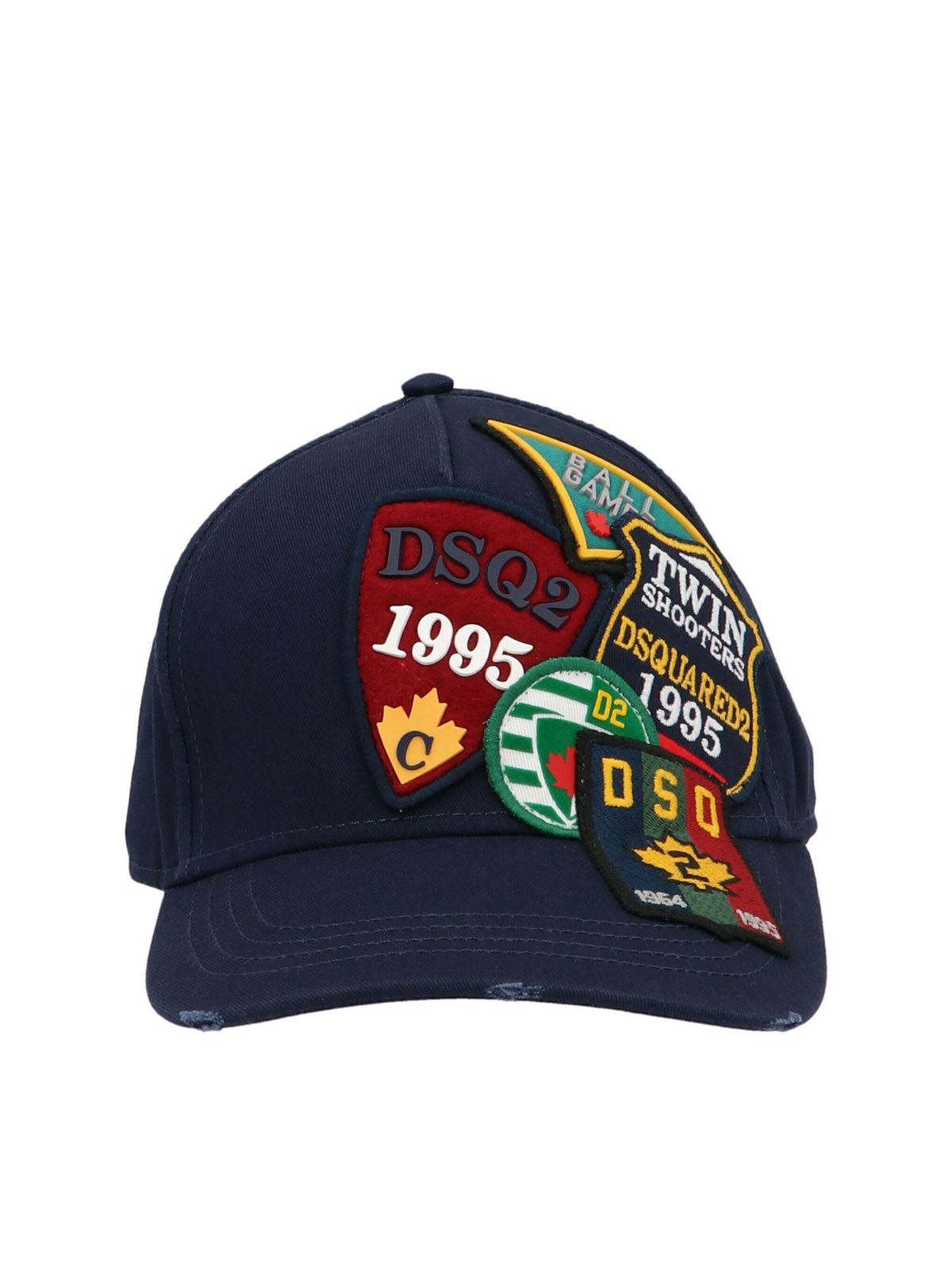 Dsquared2 Caps ALL-OVER PATCH BASEBALL CAP IN BLUE