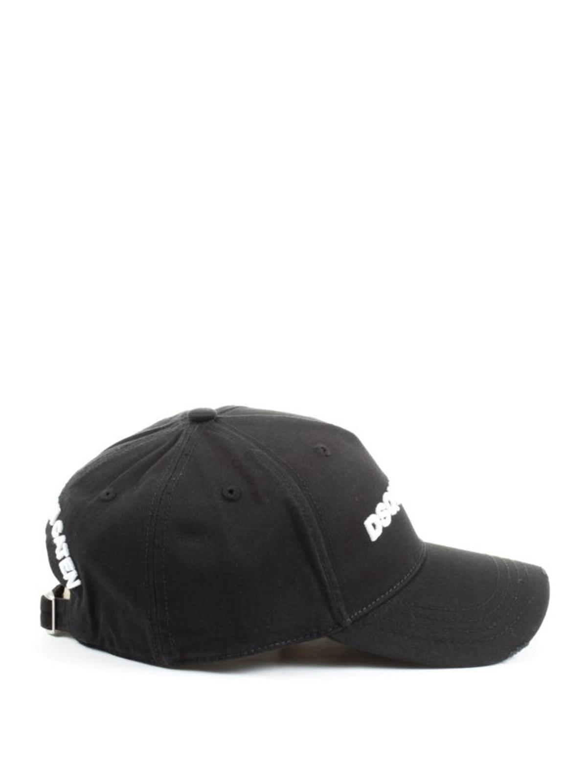 Dsquared2 - Cappellino nero con ricamo logo - cappelli ... ae5c71f5ddf8