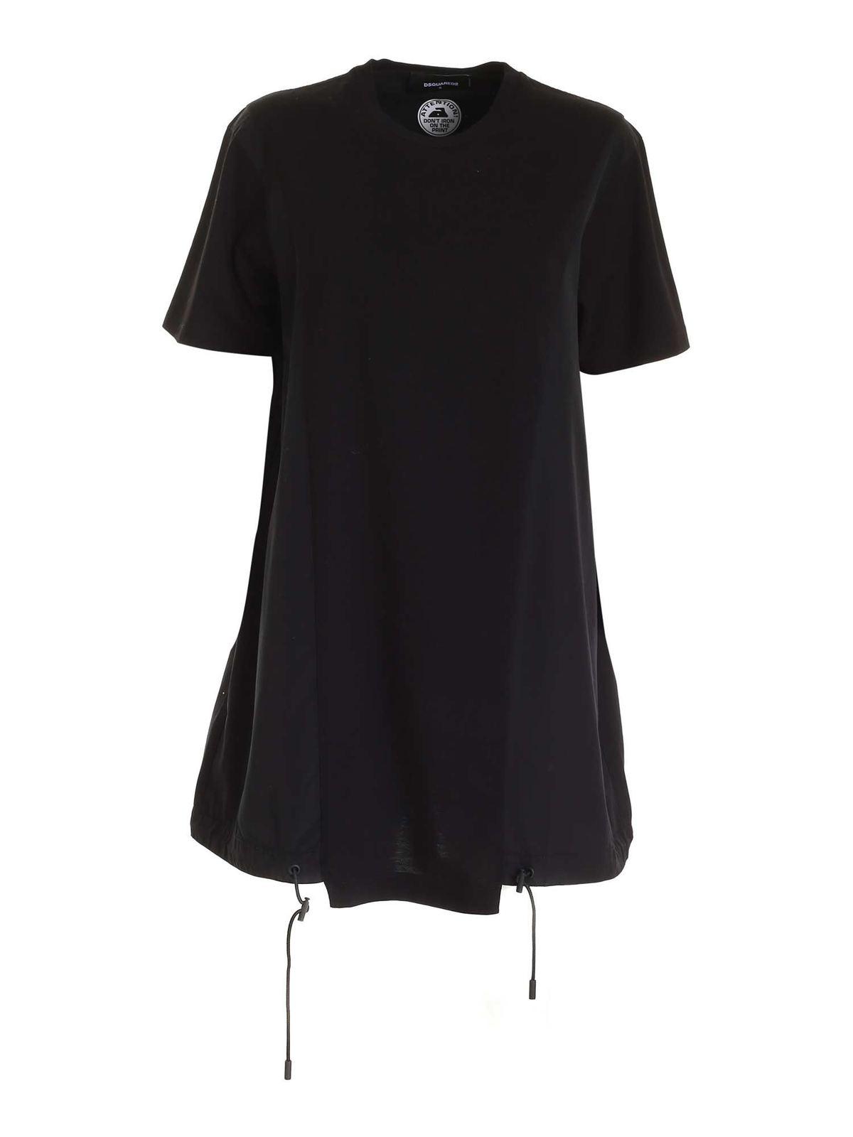 Dsquared2 DRAWSTRING DRESS IN BLACK