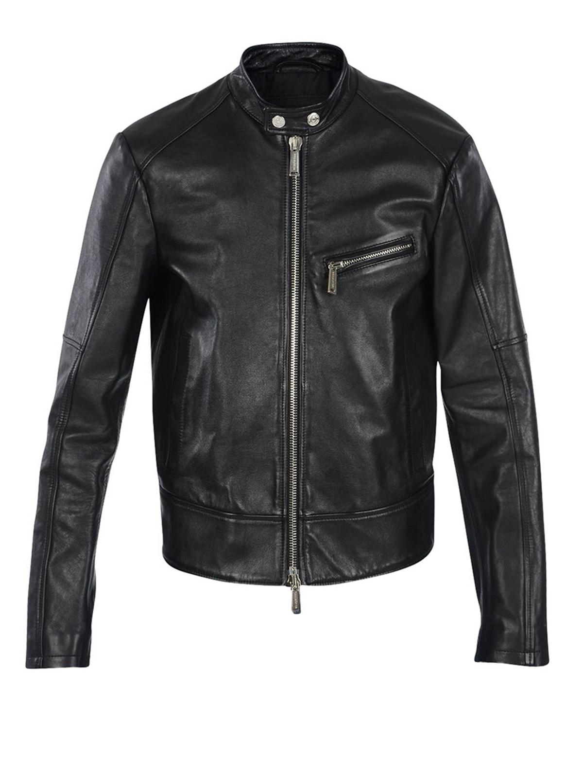online store c8fba a8e5c Dsquared2 - Giubbotto in pelle stile biker - giacche in ...