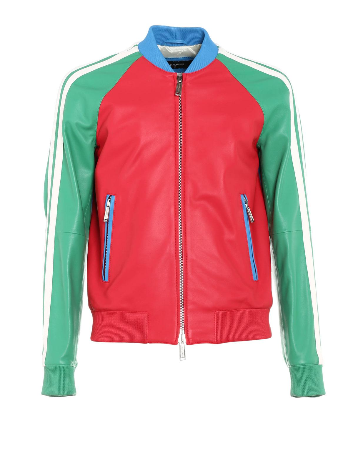 Colourful bomber jacket by Dsquared2 - leather jacket | iKRIX