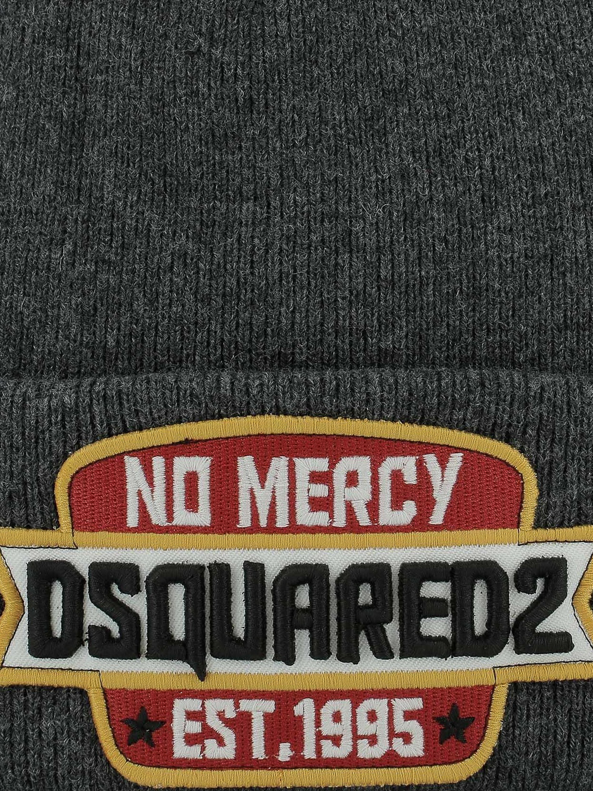 3da9e3eb740 DSQUARED2  beanies online - Logo patch grey ribbed wool beanie