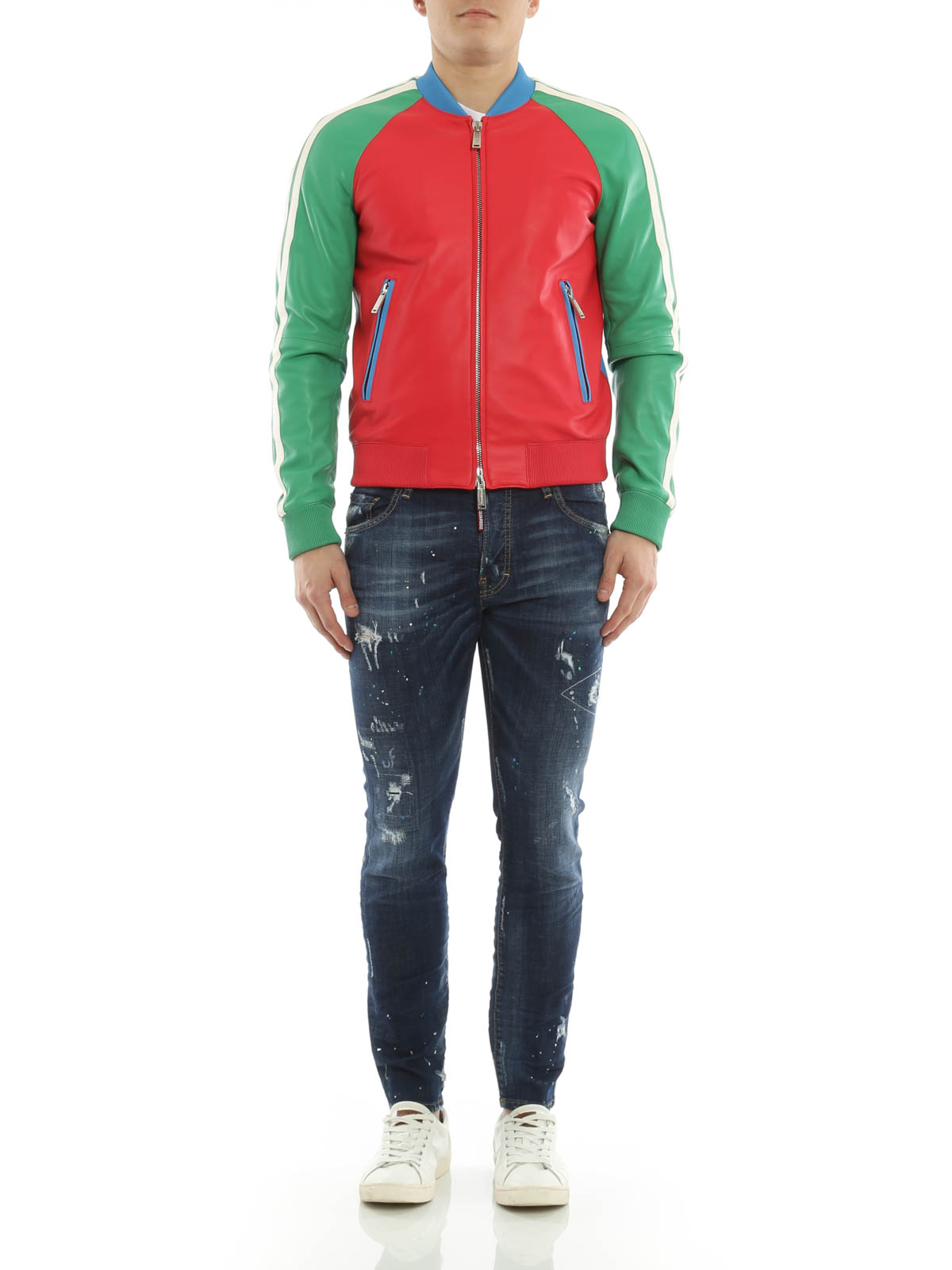 13b0fb7f809 Dsquared2 - Colourful bomber jacket - leather jacket - S74AM0590 ...
