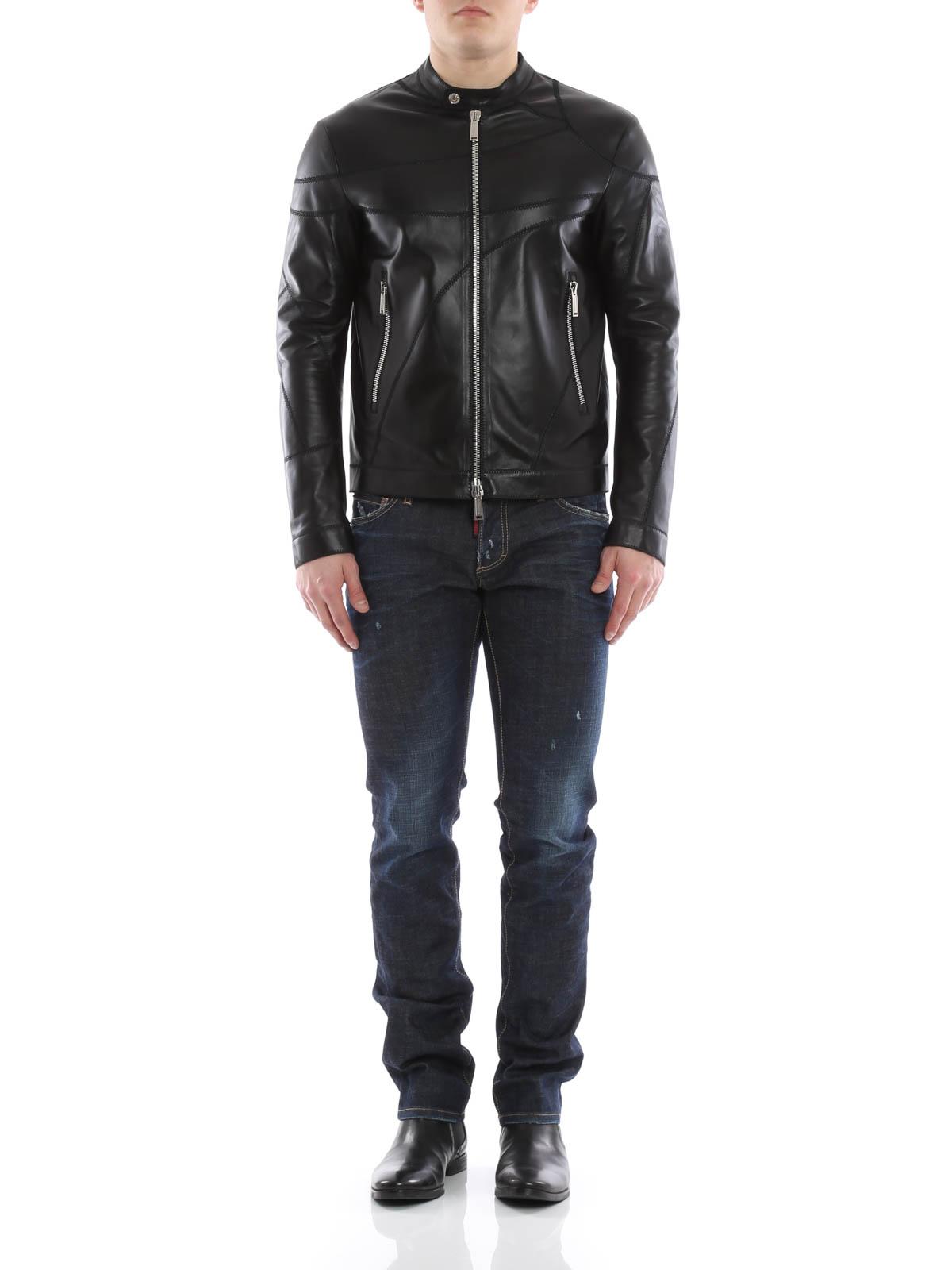meet 3d9ae 37f78 Dsquared2 - Giacca di pelle modello biker - giacche in pelle ...