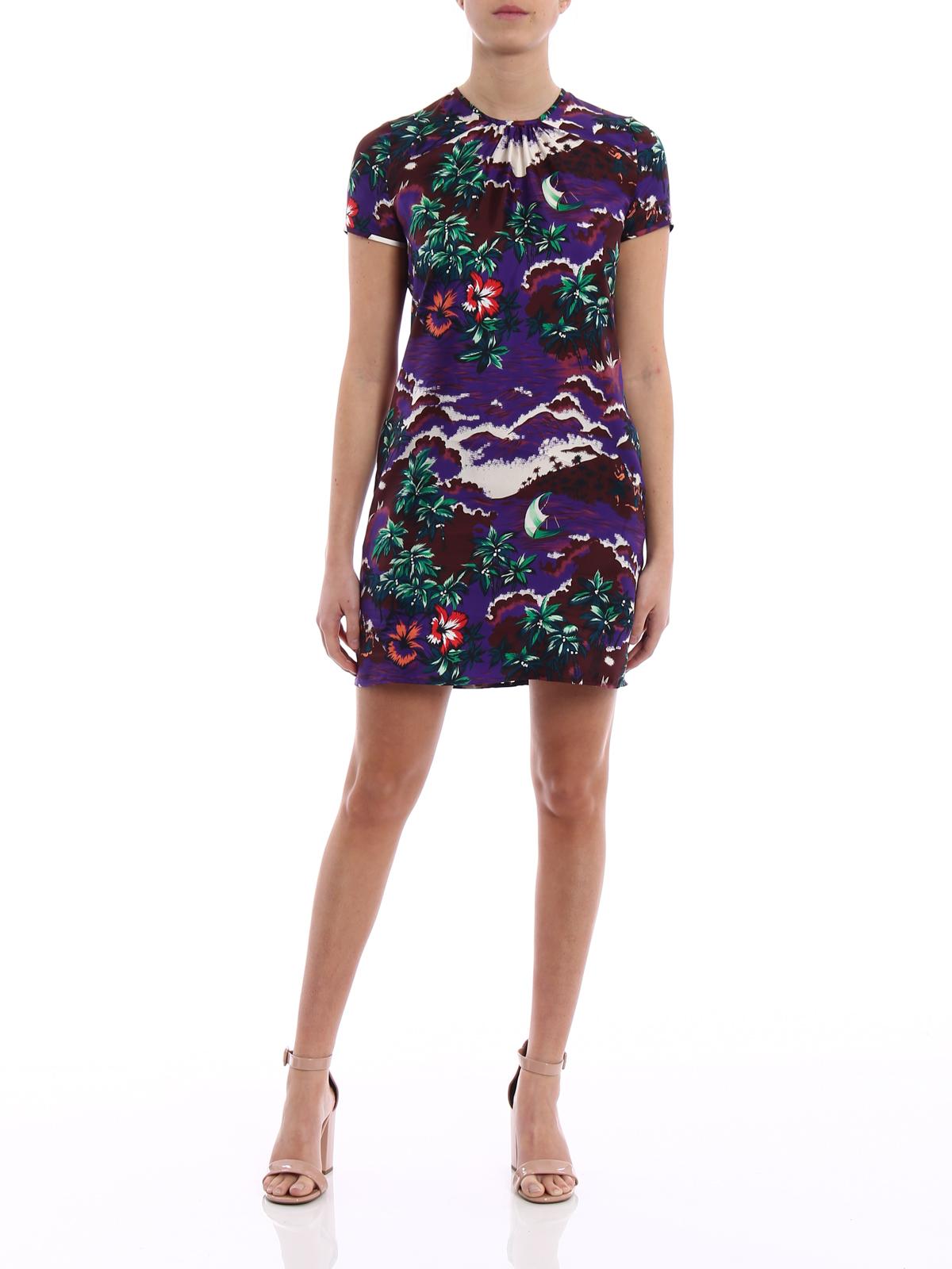 eacce6a08c6b DSQUARED2  abiti corti online - Mini abito in seta stampata