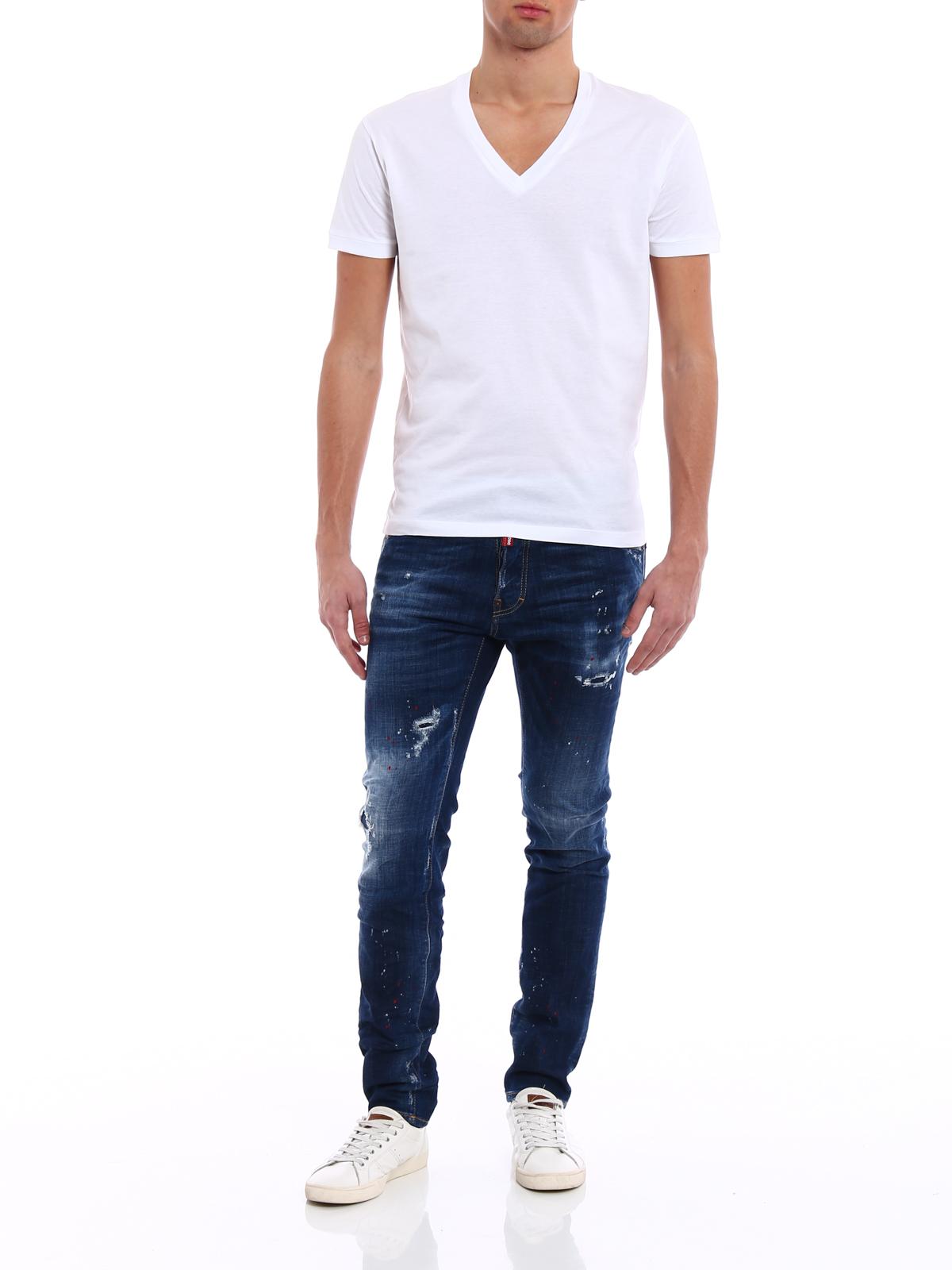 DSQUARED2  t-shirt online - T-shirt bianca in cotone scollo a V 0e3e9a4348f4