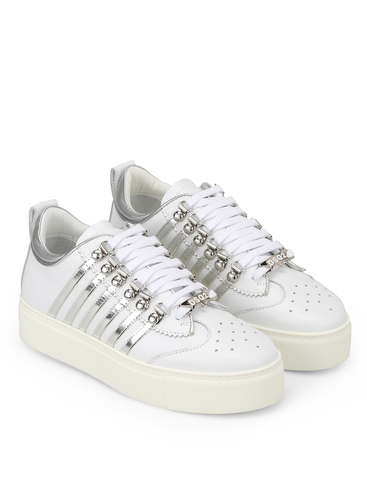 251 white and silver sneakers
