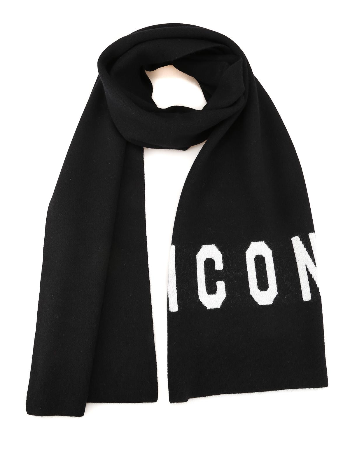 Dsquared2 Jacquard Logo Wool Blend Scarf In Black