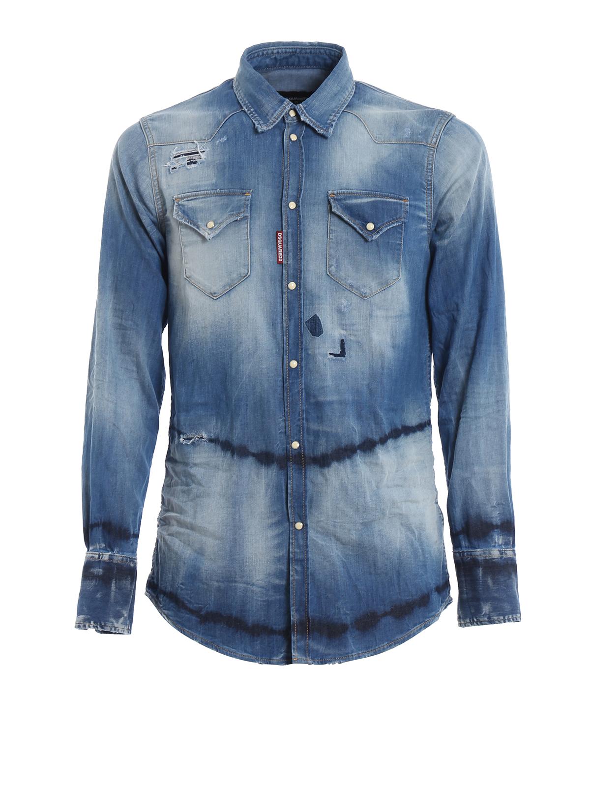 037b296402 Dsquared2 - Bleached denim shirt - shirts - S71DM0288S30341470 ...