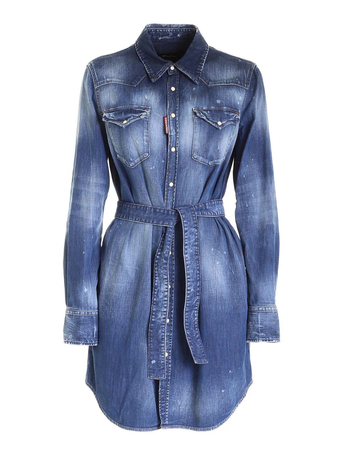 Dsquared2 Cottons BOYFRIEND SHIRT IN BLUE