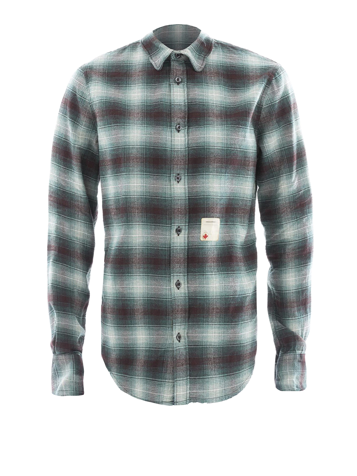 check cotton flannel shirt by dsquared2 shirts ikrix. Black Bedroom Furniture Sets. Home Design Ideas