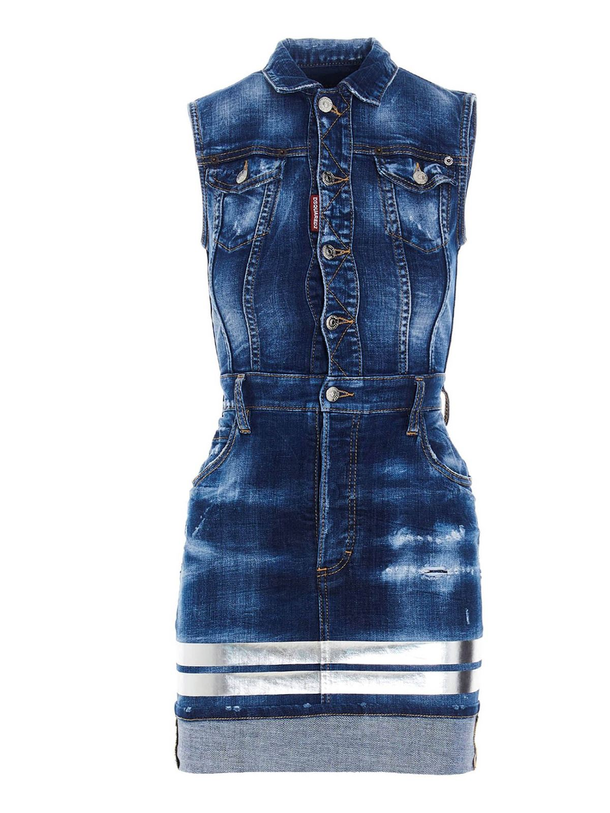 Dsquared2 SLEEVELESS DENIM SHEATH DRESS IN BLUE