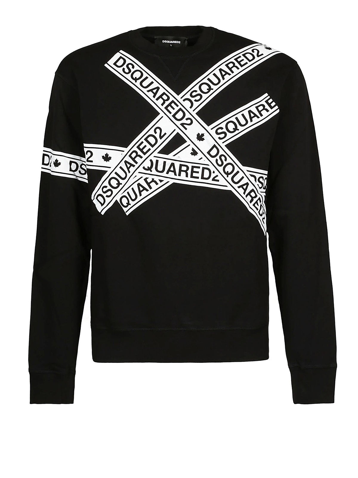 Dsquared2 Mens Logo White Tape Print Black Sweatshirt Designer Cotton Jumper