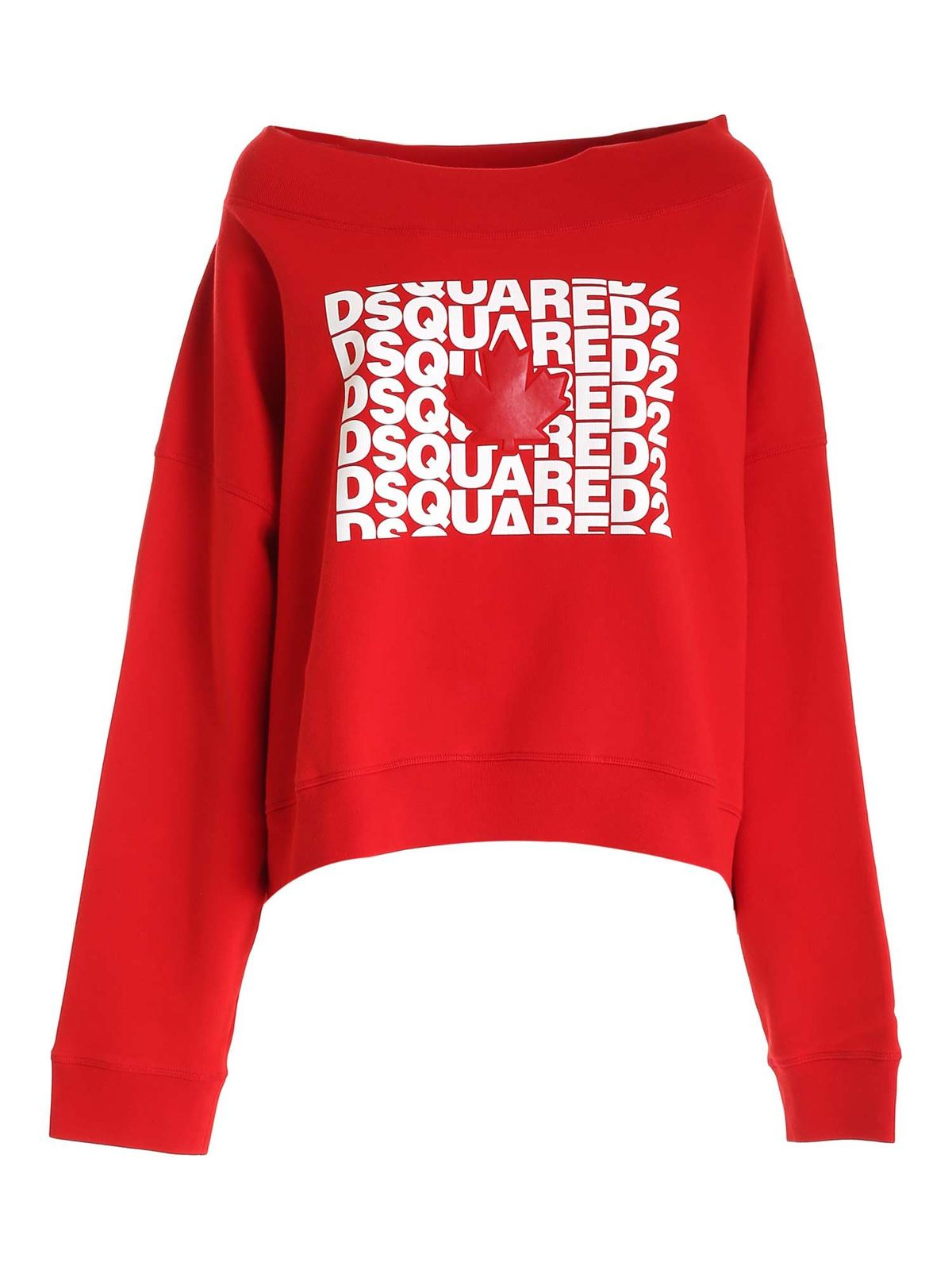 Dsquared2 Cottons OVERSIZED LOGO SWEATSHIRT IN RED