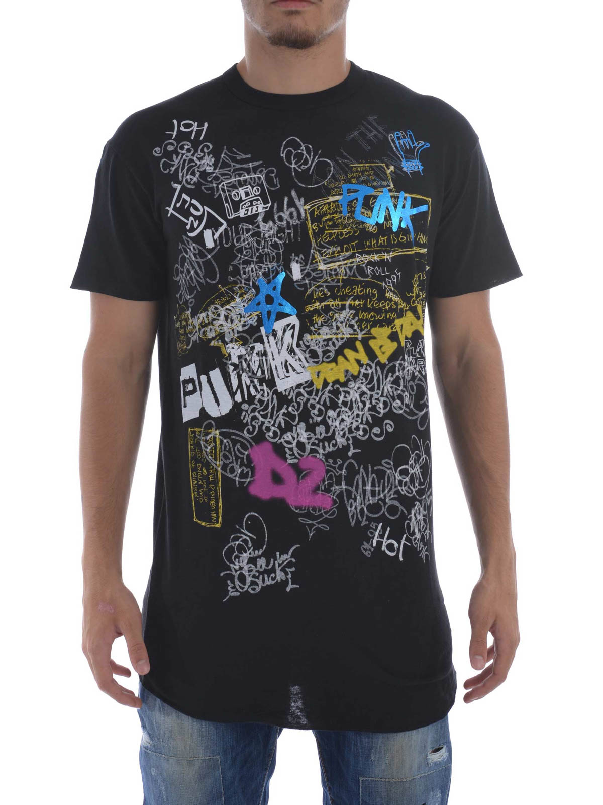 Long cool fit fluo printed t shirt by dsquared2 t shirts for Online printed t shirts