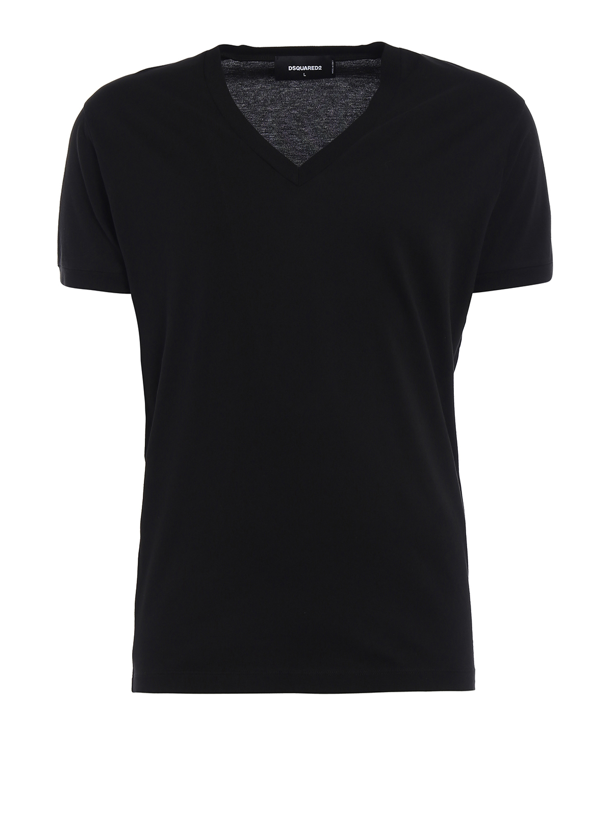 V neck cotton jersey black tee by dsquared2 t shirts for V neck t shirt online shopping