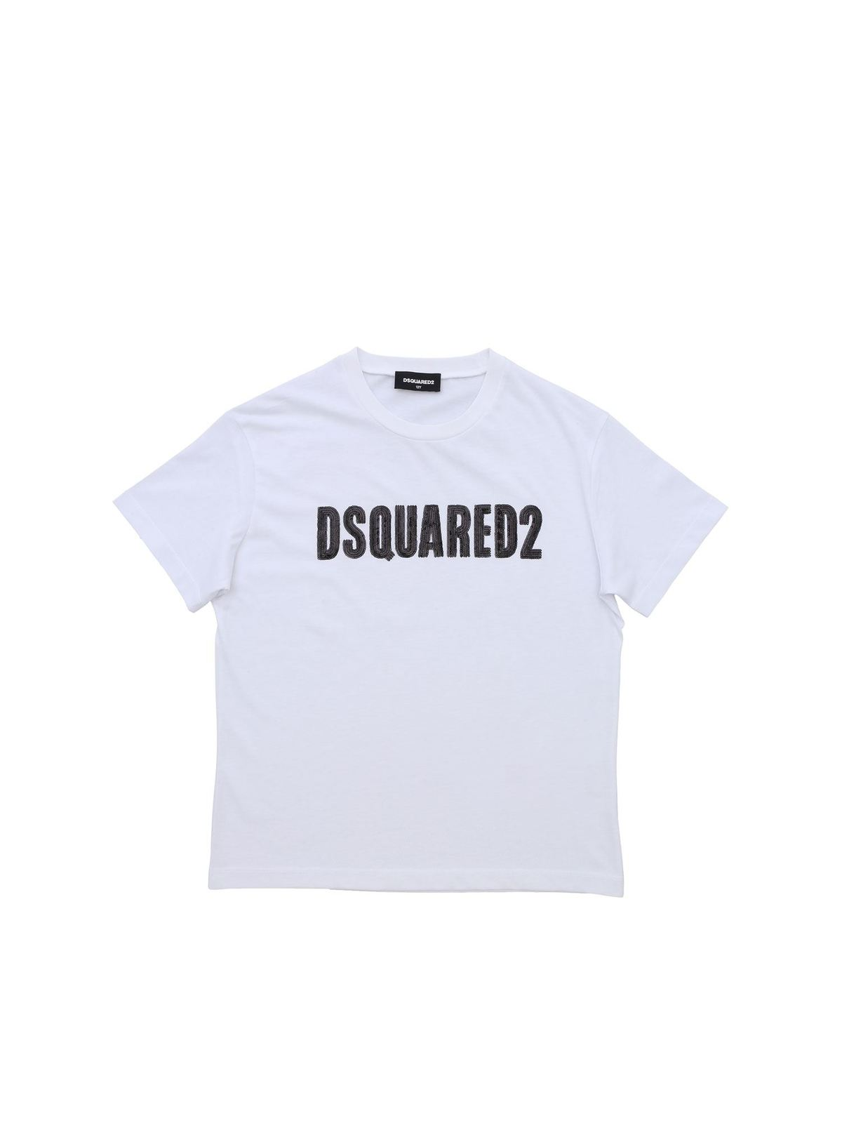 Dsquared2 WHITE T-SHIRT WITH MICRO SEQUINS LOGO