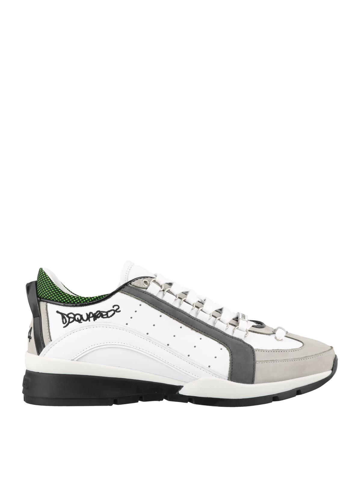 Dsquared2 - Sneaker 551 bianca e grigia in pelle - sneakers ... 099798f335e