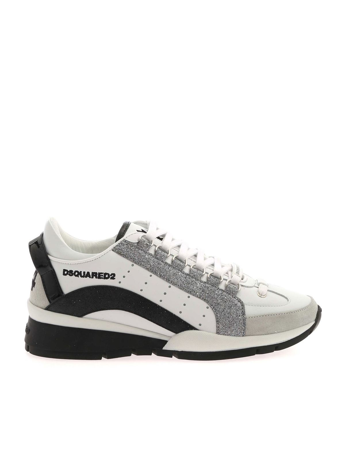 DSQUARED2 LACE UP LOW TOP WHITE SNEAKERS FEATURING GLIT