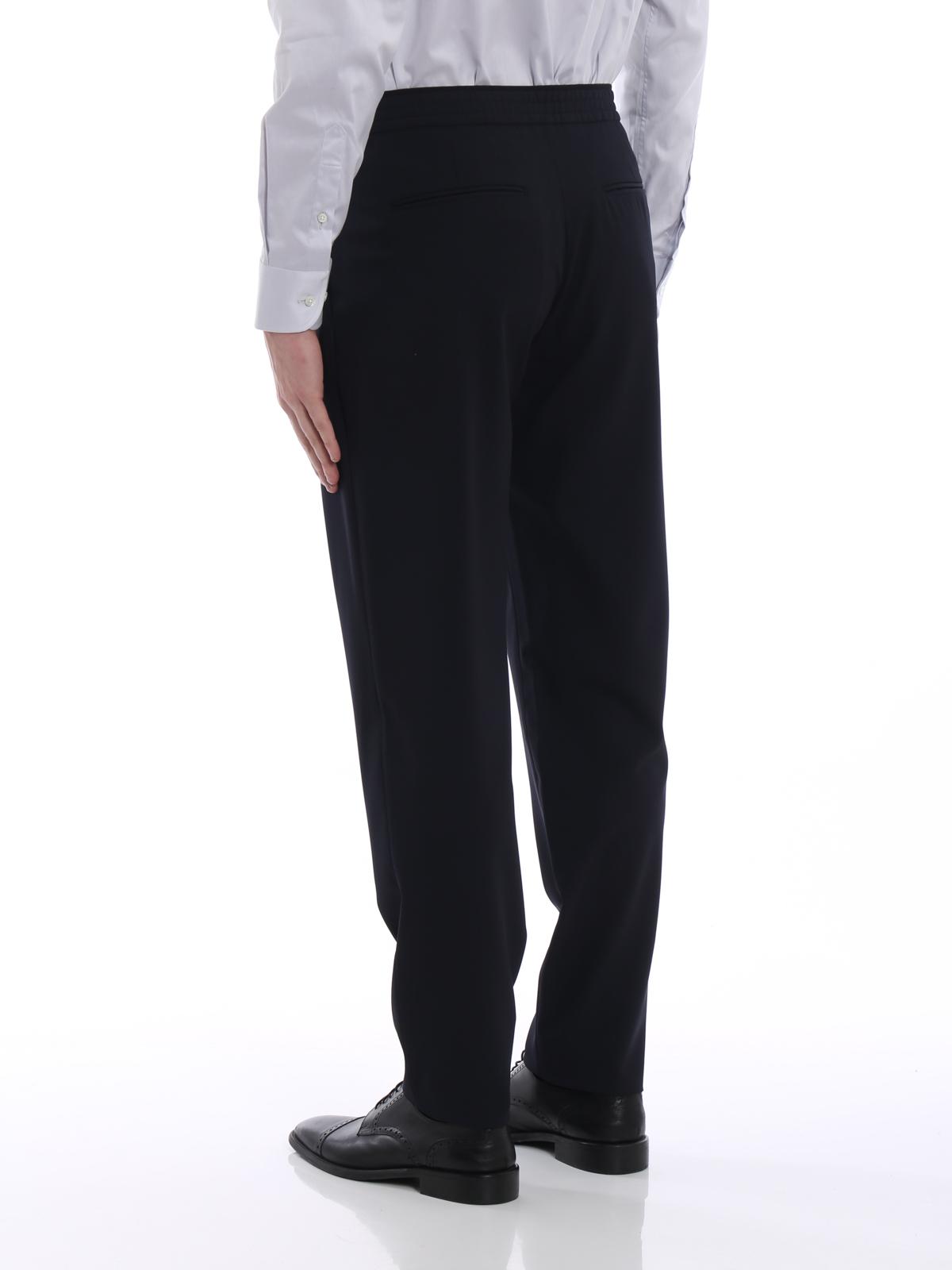 ef258e5c54 Giorgio Armani - Pantaloni in lana blu con elastico - Pantaloni ...